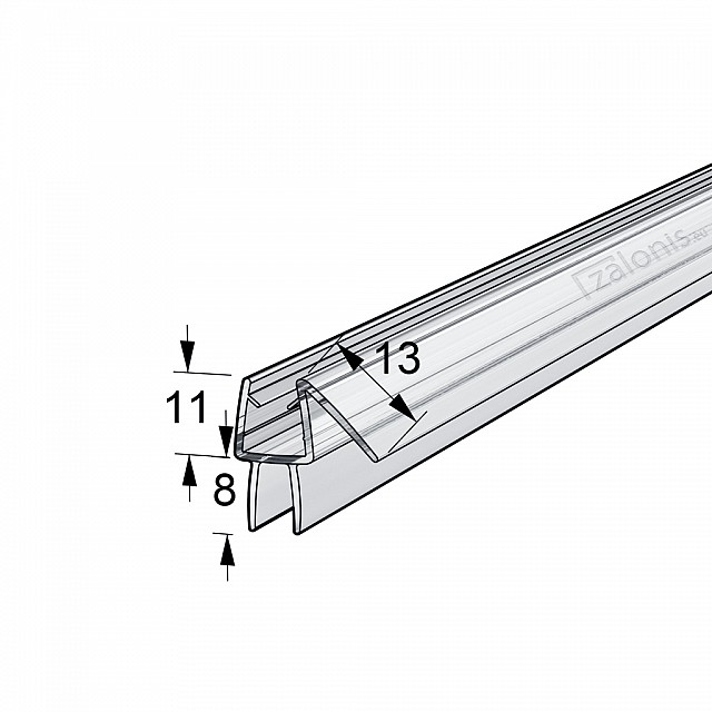 HARD FIN SHOWER SEAL FOR 6-8mm GLASS - 2m